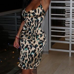 Pretty little thing leopard satin dress
